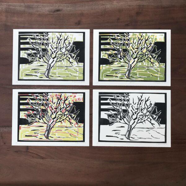 4 Jahreszeiten Linolschnitt