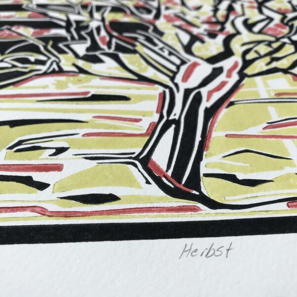 Detail Linolschnitt Herbst