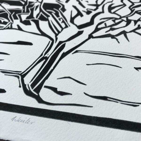 Detail Linolschnitt Winter