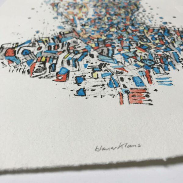 Detail handcolorierter Linolschnitt Blauer Klaus