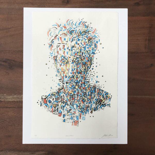 handcolorierter Linolschnitt Blauer Klaus