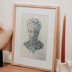 handcolorierte Lithografie (Unikat), Beispielrahmung
