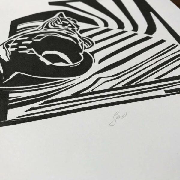 Detailbild Linolschnitt Gast
