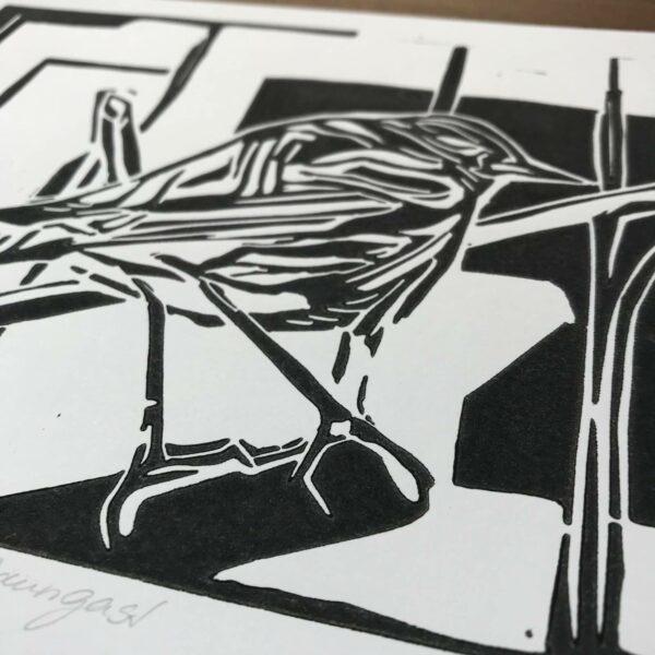 Detail Linolschnitt Zaungast