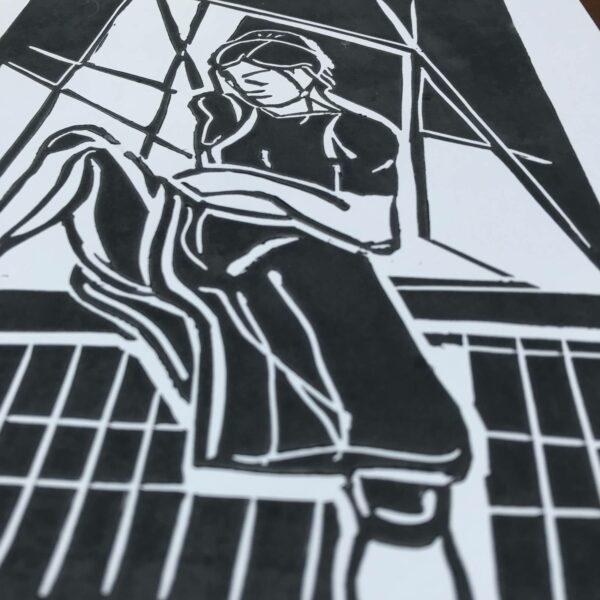 Detail Linolschnitt am Fenster