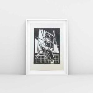 Linolschnitt am Fenster, Beispielrahmung