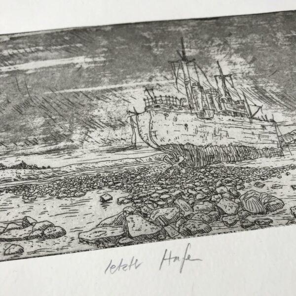 Detail Radierung letzter Hafen