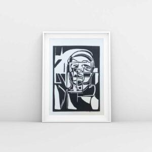 Linolschnitt Metropolis, Beispielrahmung