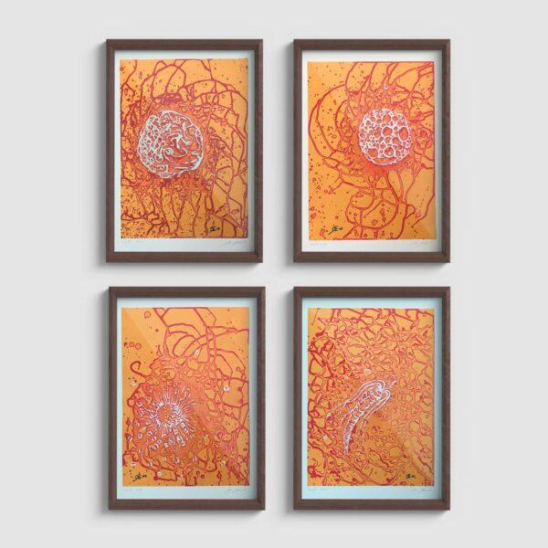 Öl und Acryl auf Papier - organische Abstraktion, 4 Motive, Beispielrahmung