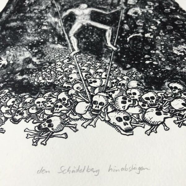 Detail Lithografie Den Schädelberg hinabsteigen