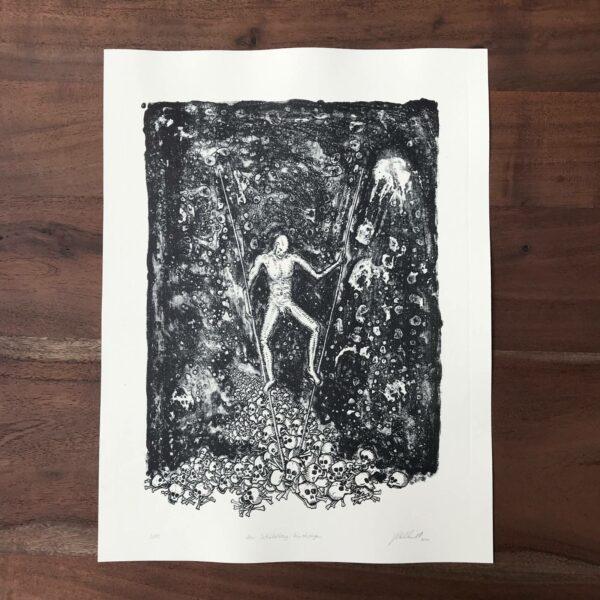 Lithografie Den Schädelberg hinabsteigen