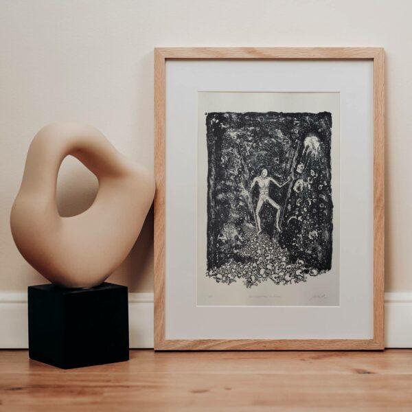 Lithografie Den Schädelberg hinabsteigen, Beispielrahmung