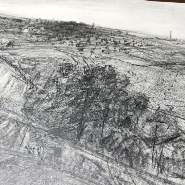 Detail Bleistiftzeichnung Blick über Reichenbach