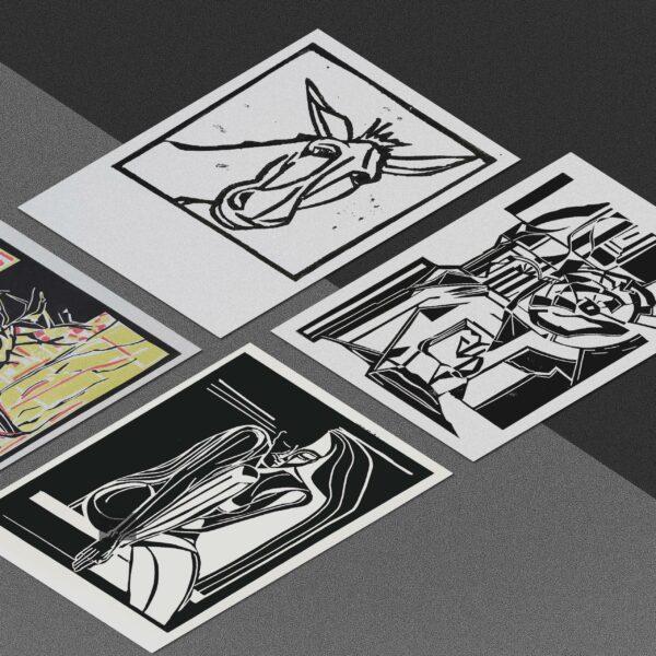 Postkarten mit Linolschnitten von Katja Blechschmidt